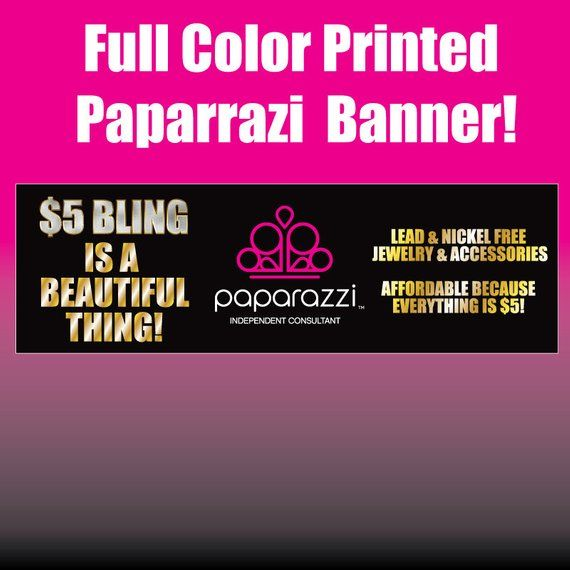 Paparazzi Horizontal Full Color Printed Vinyl Banner With Metal Grommets Jewelery Boutique Show Eve Vinyl Banners Prints Metal Grommets