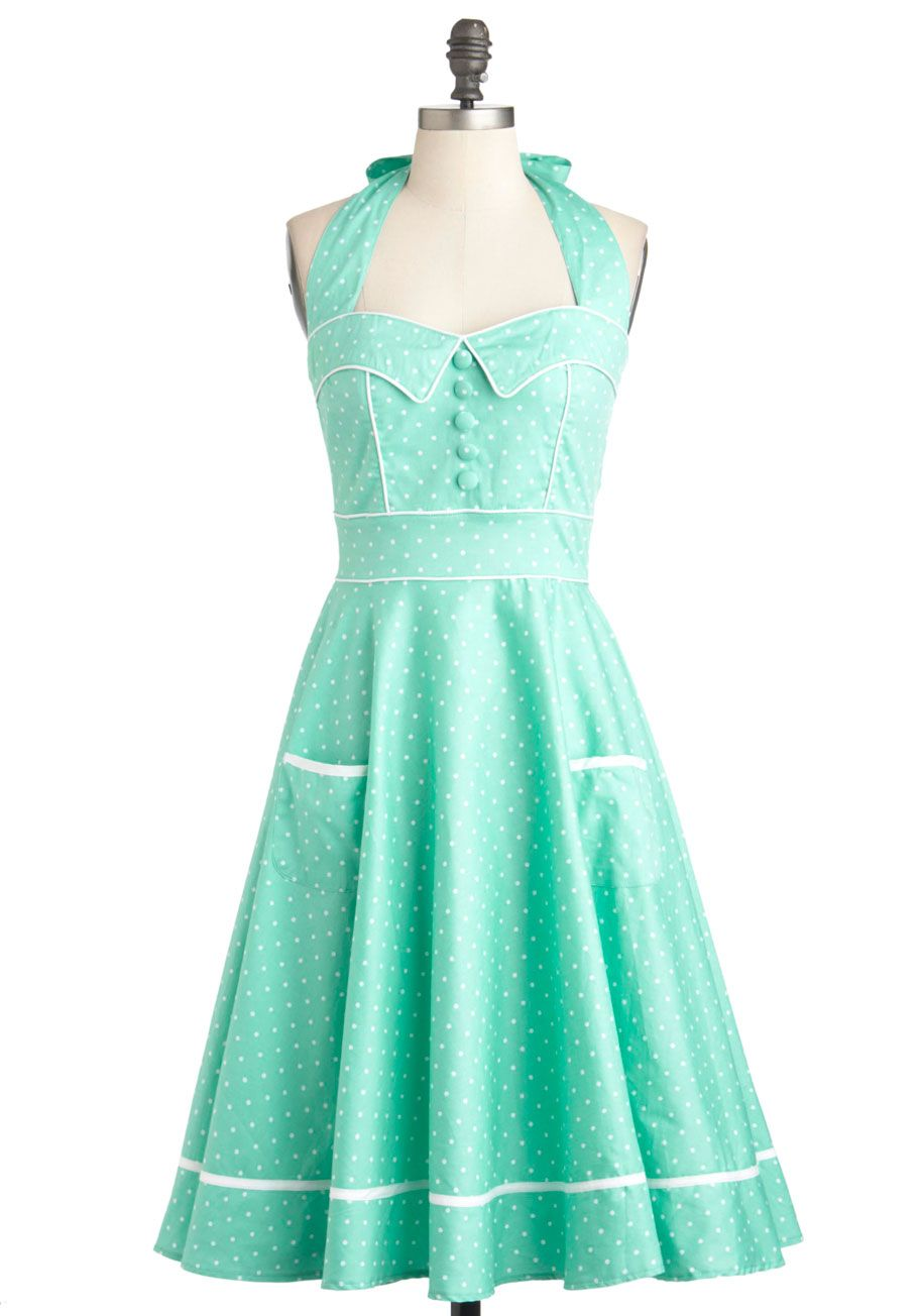 Miss Indie Dress - Cotton, Long, Green, White, Polka Dots, Buttons, Pockets, Daytime Party, Pinup, Pastel, Fit & Flare, Halter, Spring