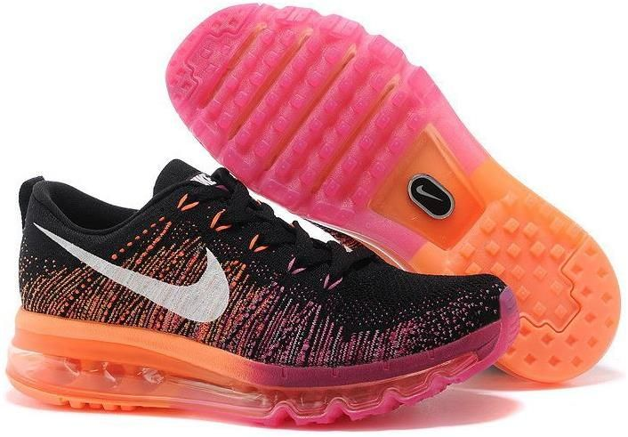 low priced 19019 72afd Nike Flyknit Air Max Black Pink Orange Red | Nike Flyknit ...