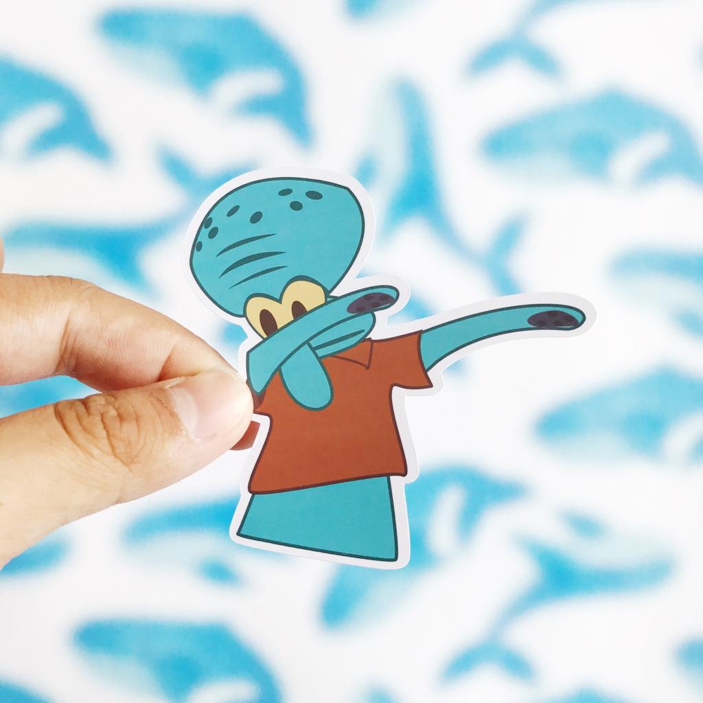 Squidward Dab Sticker Stickers Squidward Cute Stickers