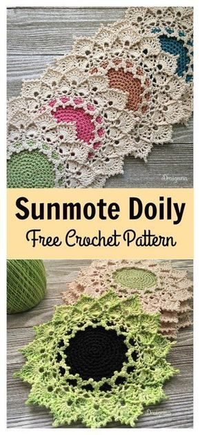 Sunmote Doily Free Crochet Pattern | Coasters and Doilies ...