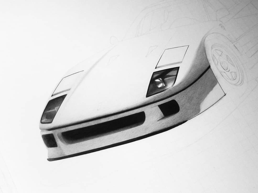 Ferrari F40 progress.  #ferrari #ferrarif40 #ferrarilovers #cardrawing #pencil #realistic #workinprogress #blackandwhite #art #automotiveart