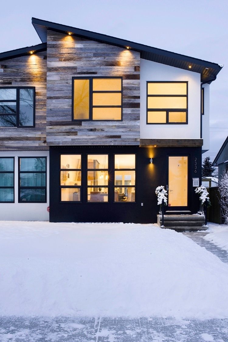 Calgary Residence By Beyond Homes. The Sharp Black Lines Provide A Modern  Contrast With The