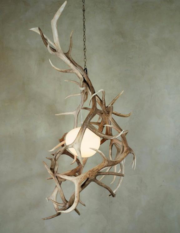 vertical hanging antler chandelier, elk antler, interior design shawn rivett designs, unique lighting fixtures