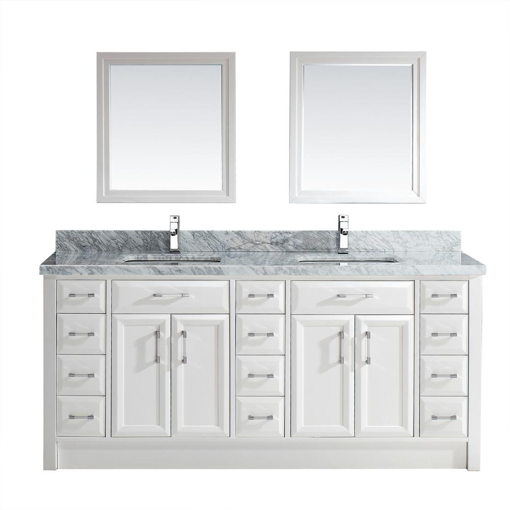 Studio Bathe Calais 75 In W X 22 In D Vanity In White With Marble Vanity Top In Gray With White Basin And Mirror Cal75whcwmtk The Home Depot Marble Vanity Tops