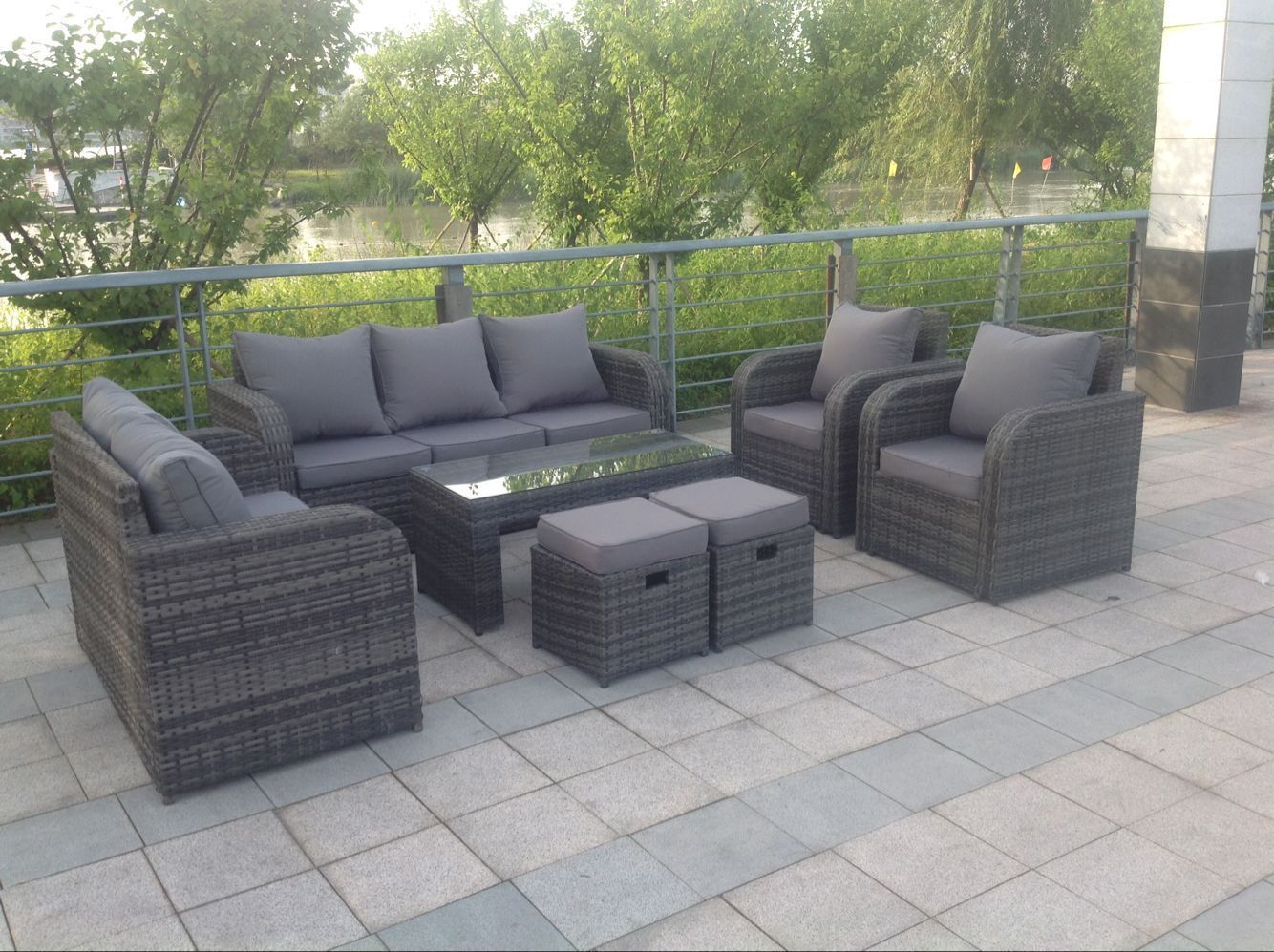 Grey Rattan Garden Furniture Set Sofa Reclining Chairs Conservatory Outdoor Ebay Outdoor Sofa Sets Rattan Garden Furniture Grey Rattan Garden Furniture