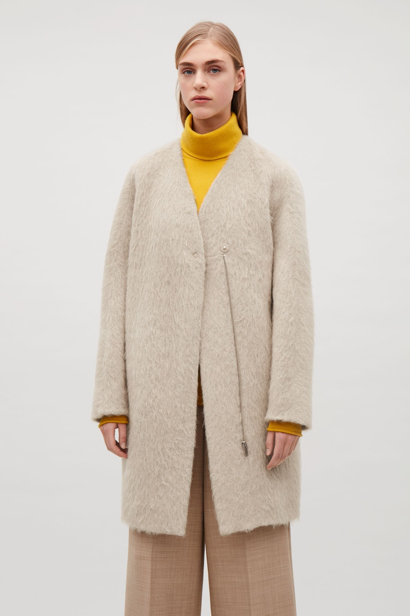 a9b91d7ae4 COS image 4 of Collarless cocoon coat in Light beige