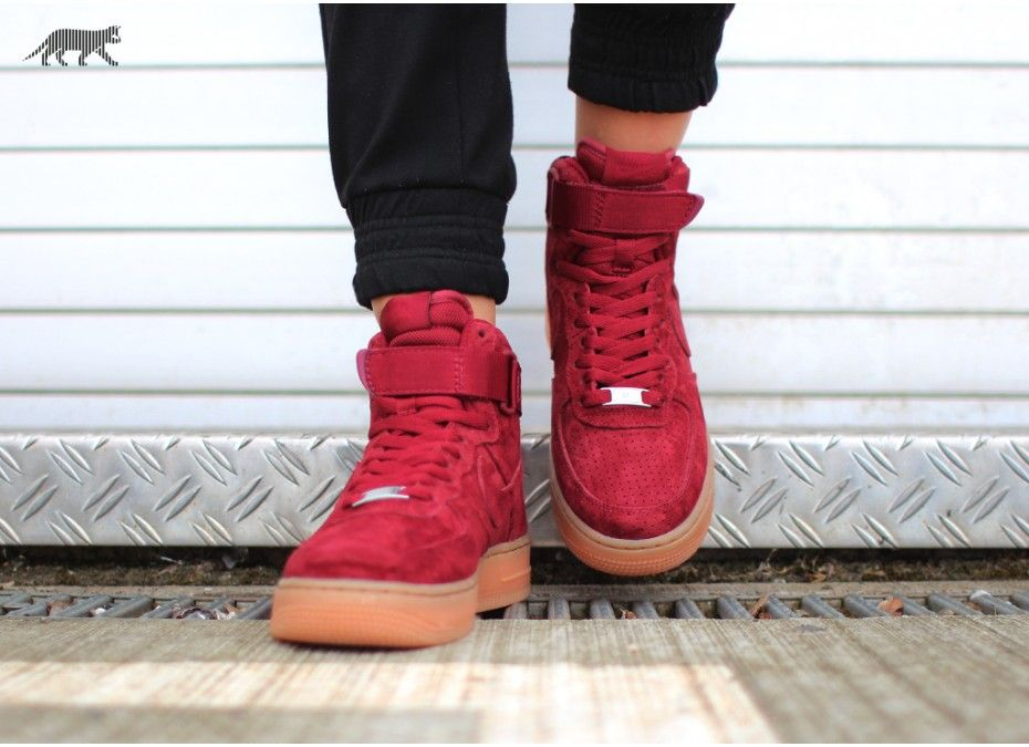 nike wmns air force 1 high red suede boots