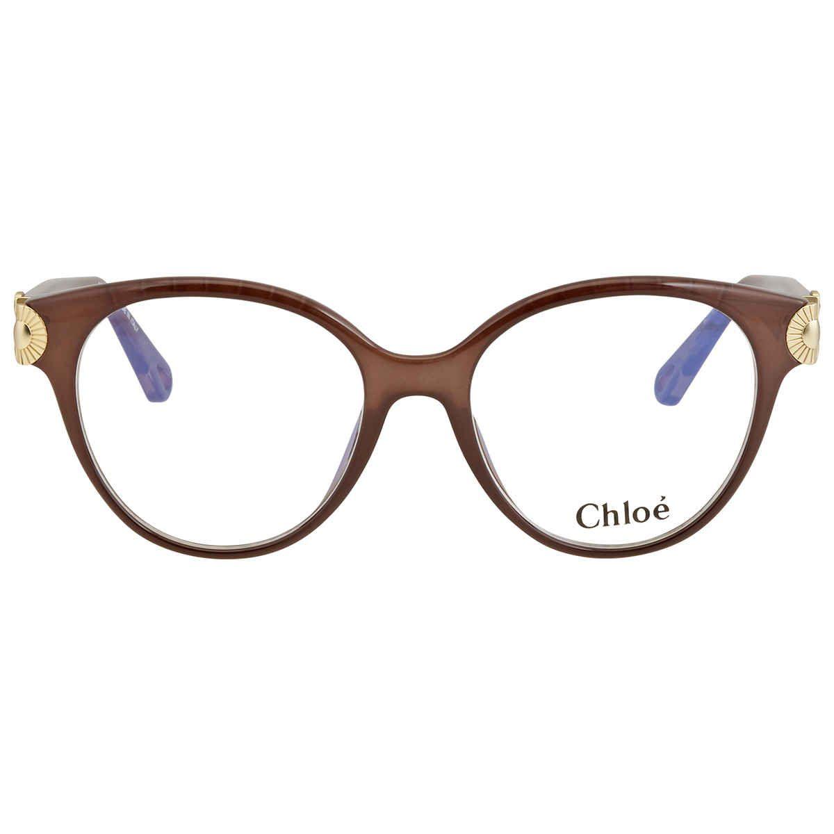 Chloe Eyeglasses. Color: Demo Lens. Shape: Cat Eye. Lens Width: 52 mm. Lens Bridge: 17 mm. Arm Length: 140 mm. Frame Material: Plastic. Frame Color: Brown. UPC/EAN code: 886895378529. Chloe Ladies Brown Square Eyeglass Frames CE2733 210 52.