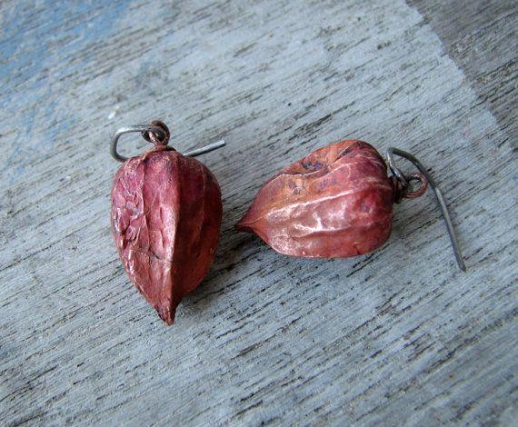 Chinese lantern earrings titanium dangle by AnnaSiivonen on Etsy, $52.00