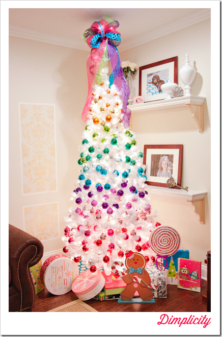 Rainbow Themed Colorful Christmas Tree With Disco Ball Bow Topper Rainbows Christmas Rainbow Christmas Tree Colorful Christmas Tree