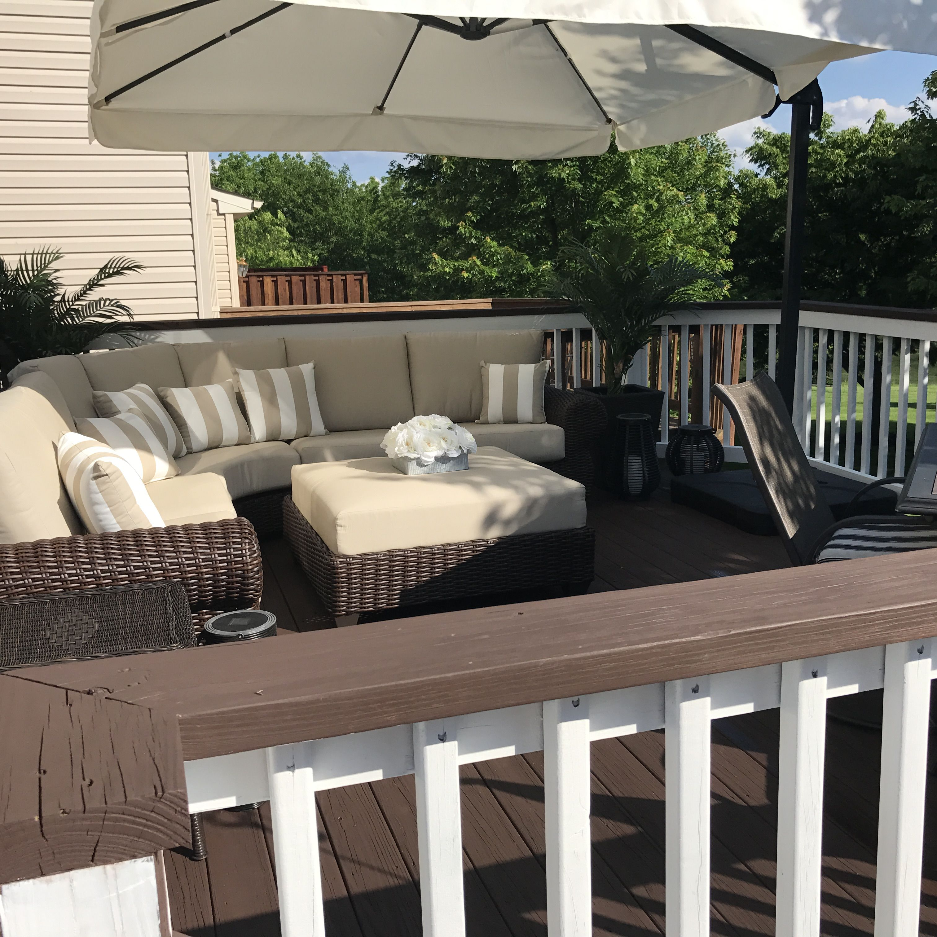 Behr Padre Brown Deck Paint With Ultra White Railings