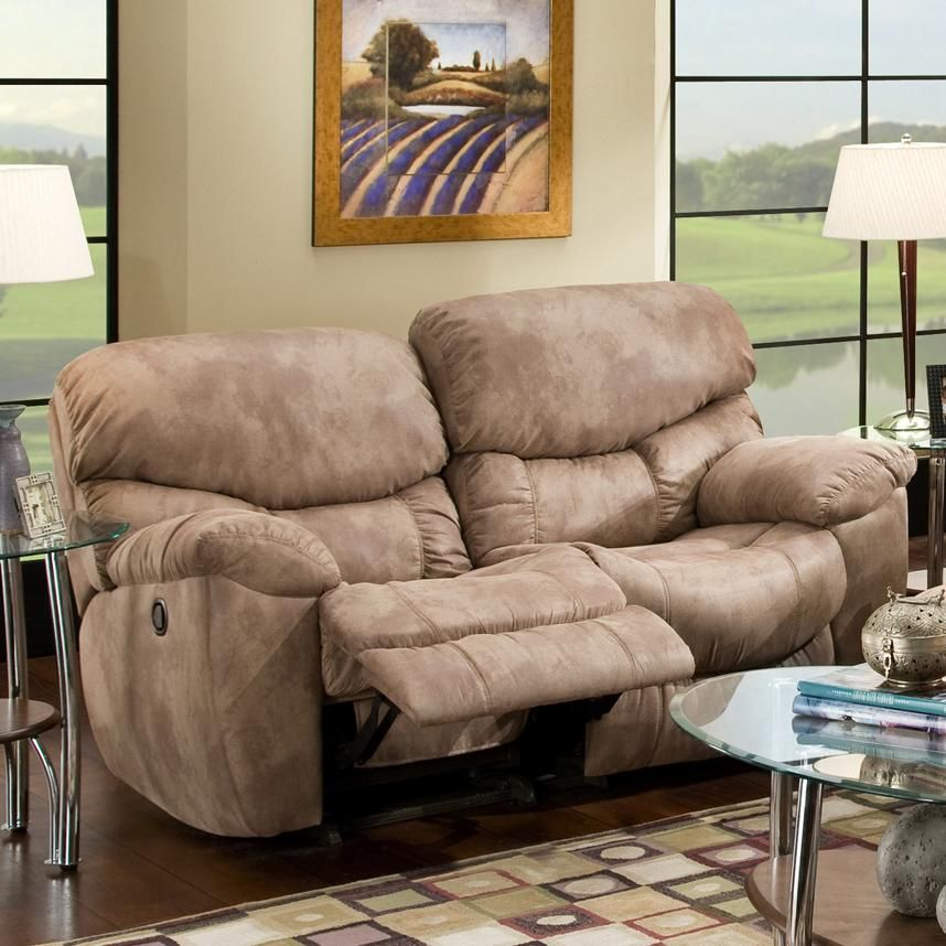 Casual Rocker Recliner Loveseat With Pillow Arms 507 By Franklin