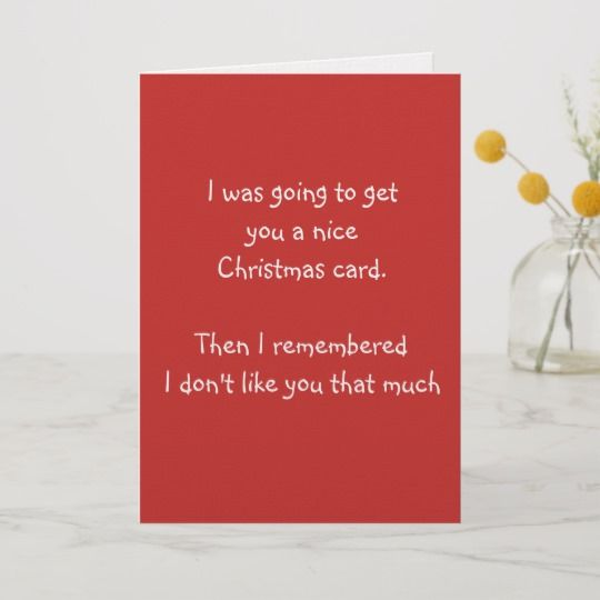 Funny Christmas Card I Don't Like You