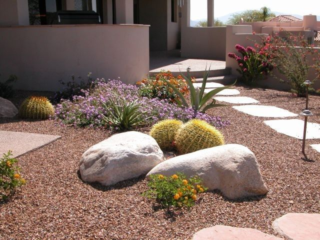 Pin By Ashley Davis On Backyard In 2020 Small Front Yard Landscaping Rock Garden Landscaping Xeriscape Front Yard