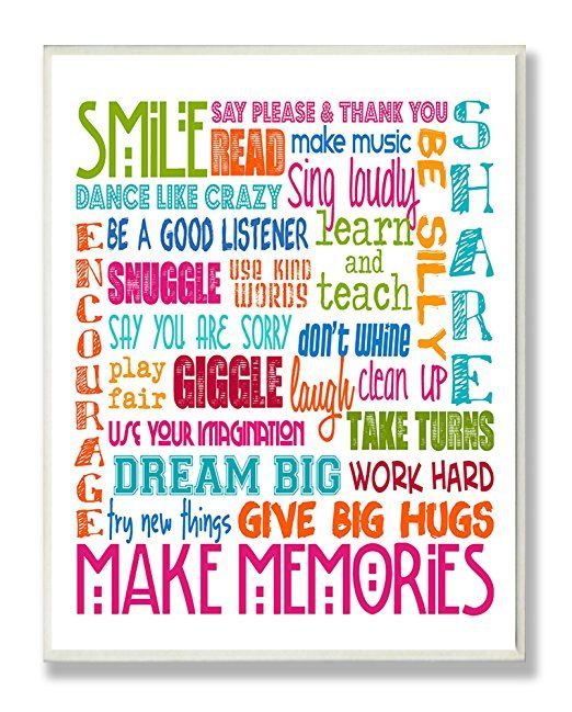The Kids Room by Stupell Playroom Rules in Four Colors Rectangle Wall Plaque Proudly Made in USA 11 x 0.5 x 15