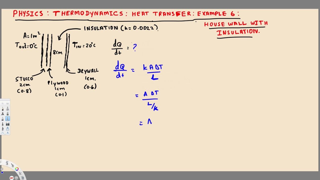 Physics Thermodynamics Conduction Heat Transfer House Wall With Thermodynamics Heat Transfer Physics