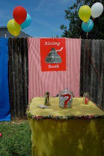 Backyard Carnival | Lots of cute ideas. Kissing booth ...