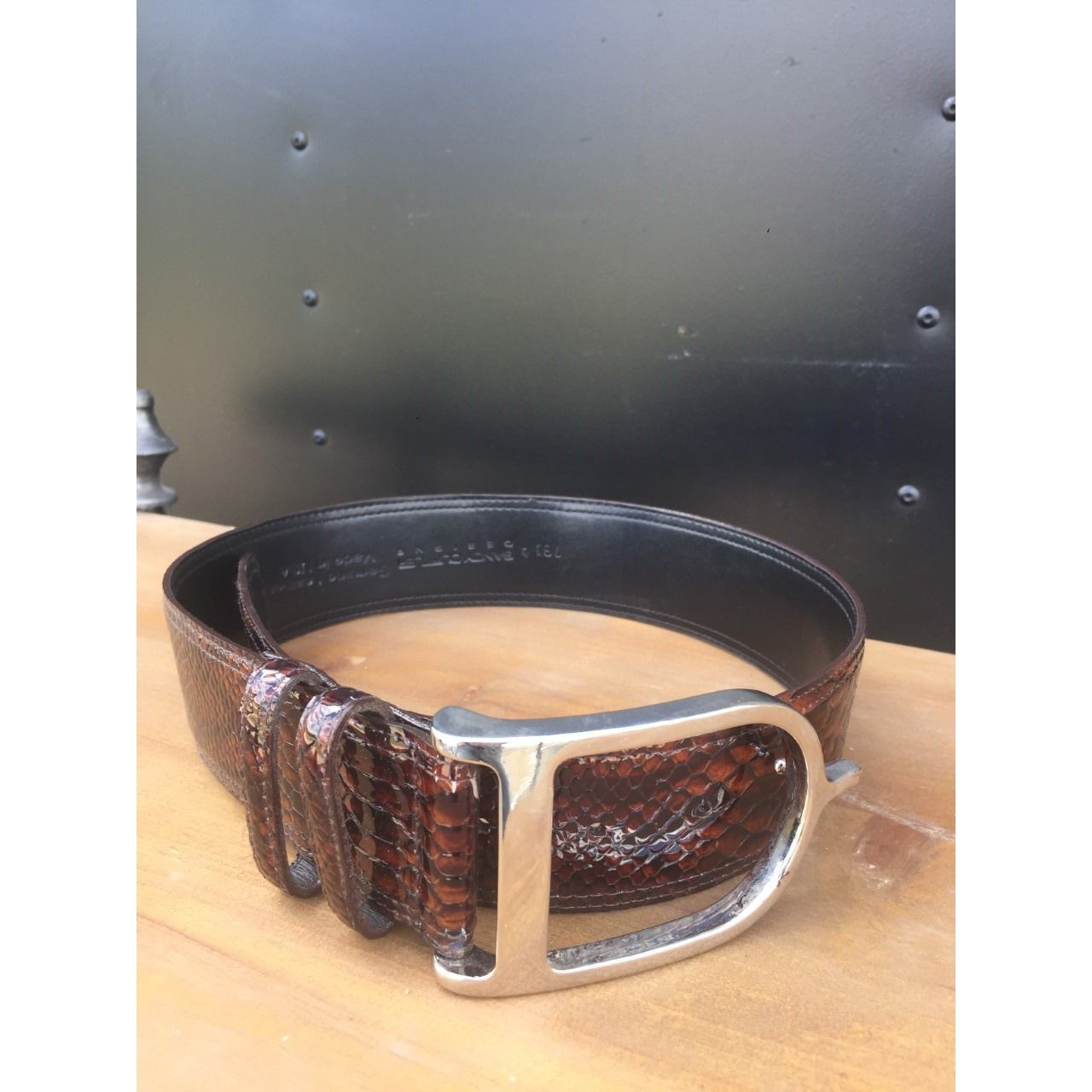 Sandy Duftler Brown Python with Silver Buckle