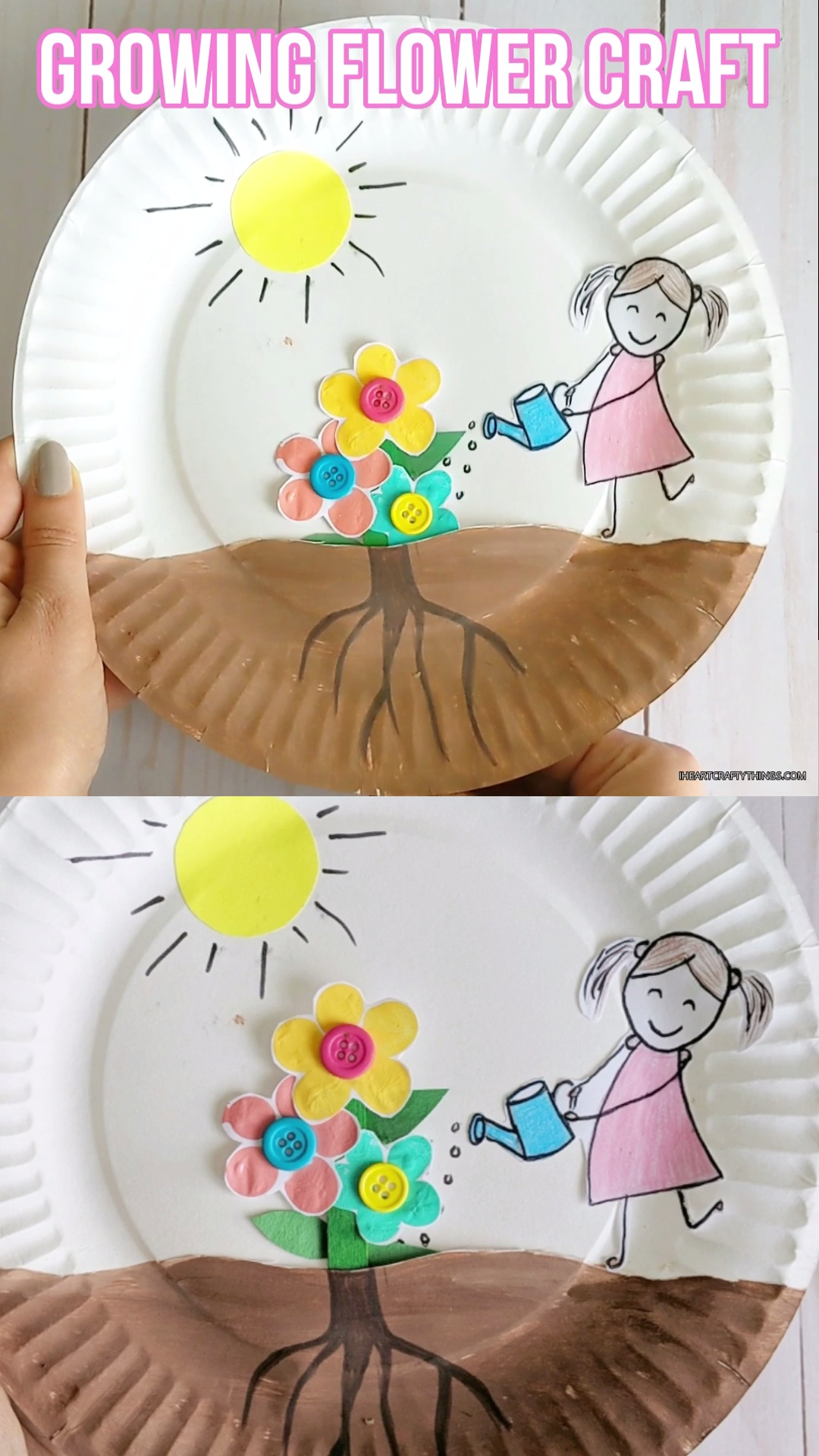 Paper Plate Growing Flowers Craft