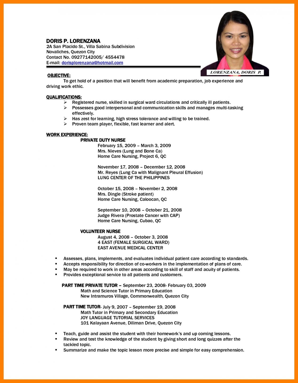 12 Basic Resume In Philippines Basic Resume Job Resume Format Resume Examples