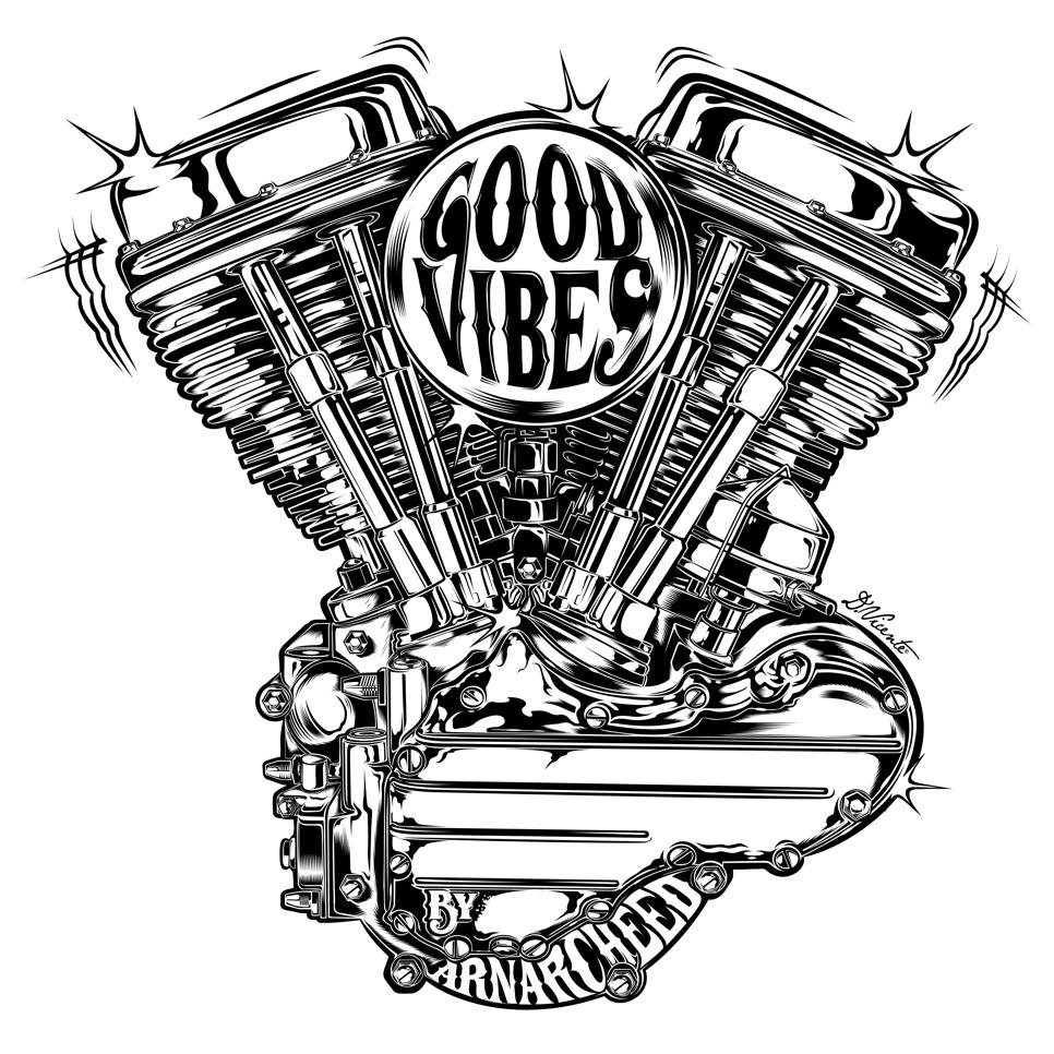 Design Good Vibes For Anarcheed France 2018 Www Dvicente Art Com Harley Davidson Art Harley Davidson Engines Engine Tattoo