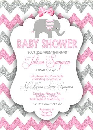 Nice Printable Girl Elephant Baby Shower Invitations Pink Gray Glitter Chevron