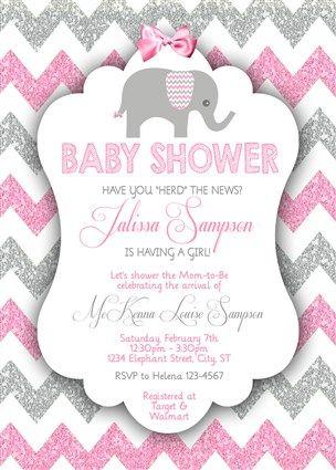 Printable Girl Elephant Baby Shower Invitations Pink Gray Glitter Chevron