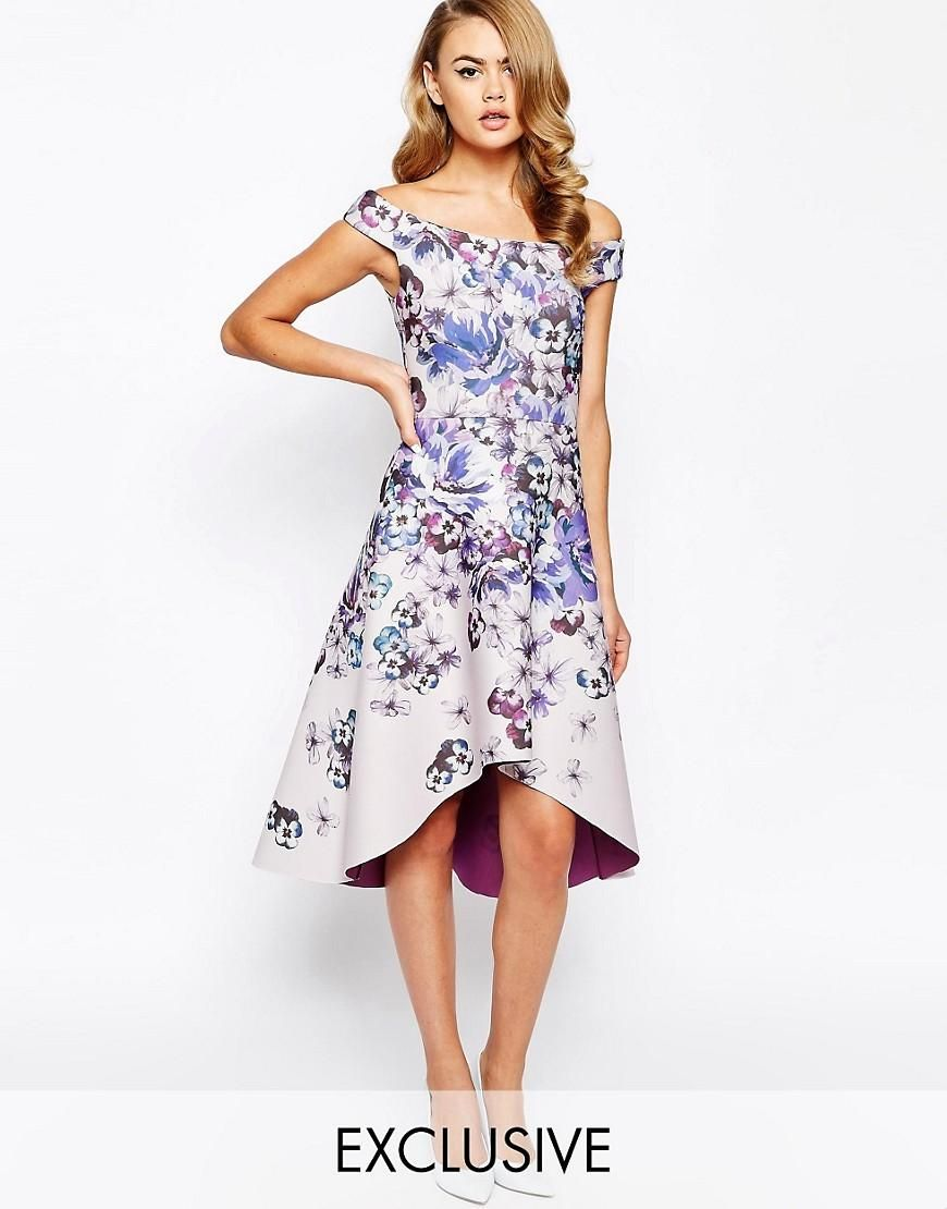 True violet true violet printed off shoulder prom dress with high