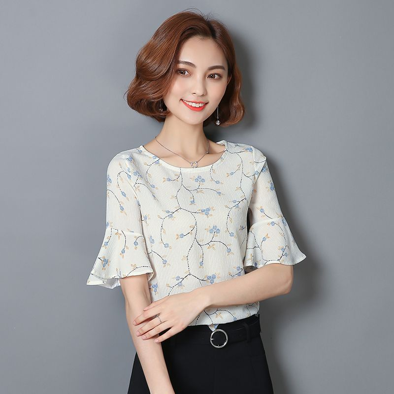 2c051e74f20 Elegant Women Print Blouses Summer Casual Blouse Plus Size Floral Striped  Flare Sleeve Half Chiffon Blusas Female Shirts Tops