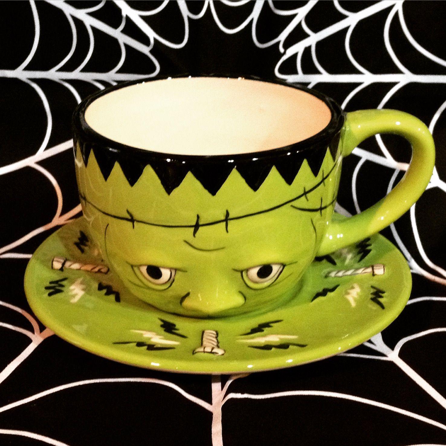 The sweetest Frankenstein cup and saucer set! #blamebetty #frankenstein #monster