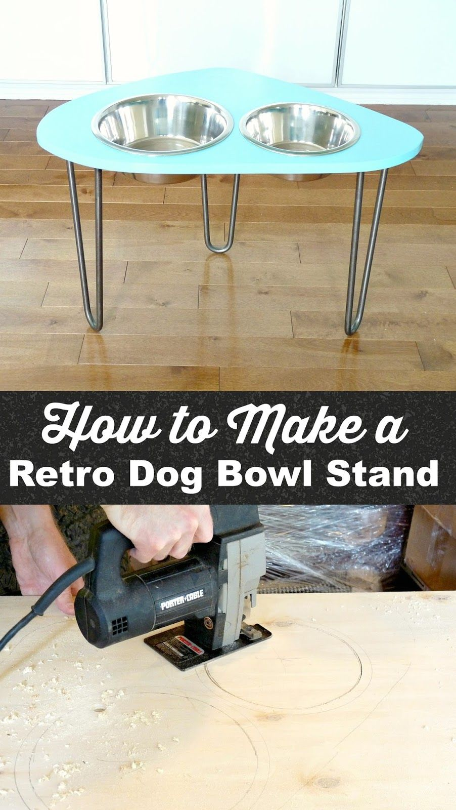DIY Raised Dog Bowl Stand With Mod 1960s Shape + Hairpin Legs