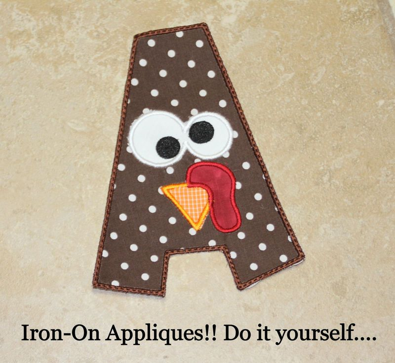 Silly Turkey DIY Embroidered Applique Patch Iron on or Sew on ANY Alphabet - Tigers and Tiaras