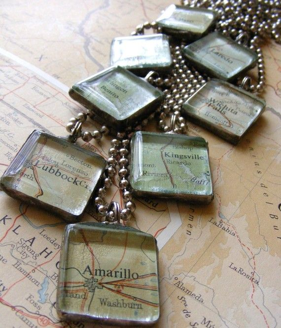 Custom Map Necklace - City of your choice soldered pendant. {idea for sandtone}