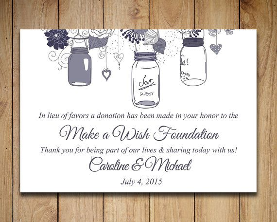 Wedding Favor Donation Card Template Mason by PaintTheDayDesigns - donation card template