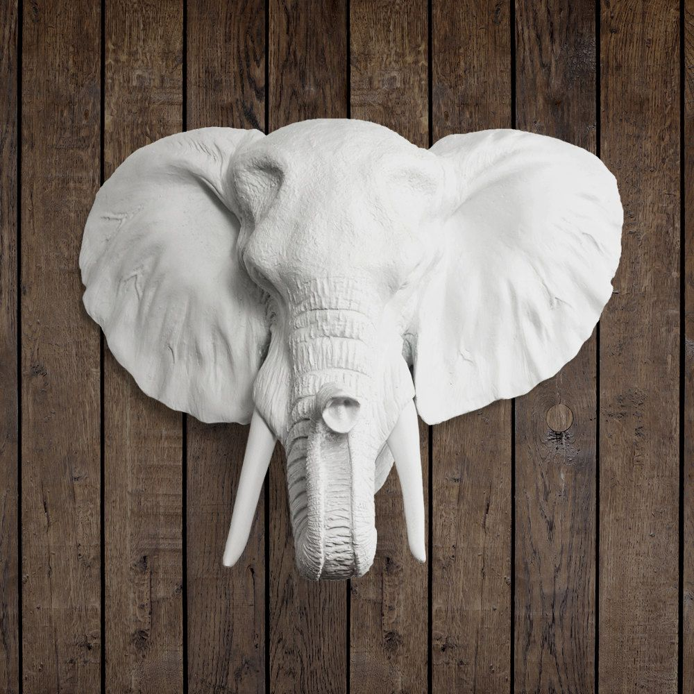 The Savannah In White Faux Elephant Head Fake Resin Animal
