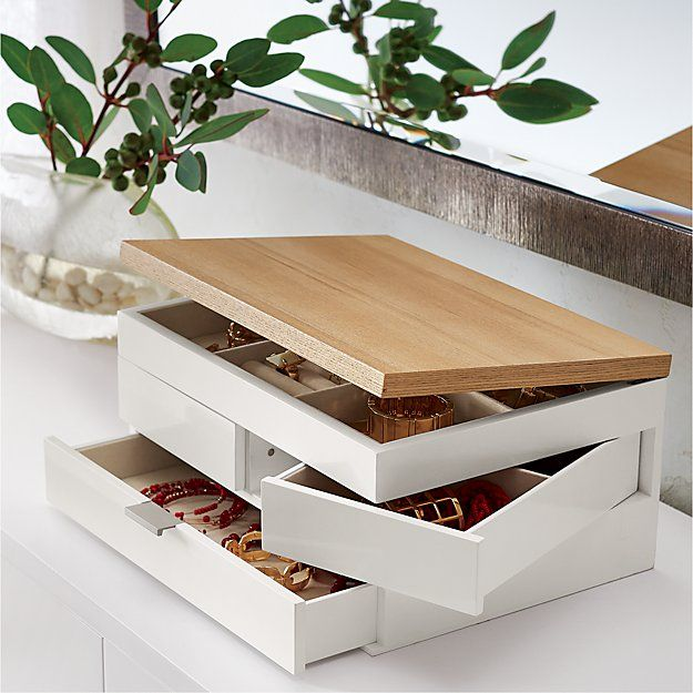 Selma White Jewelry Box Reviews Crate And Barrel Jewelry Organizer Box Modern Jewelry Box Jewelry Box Diy