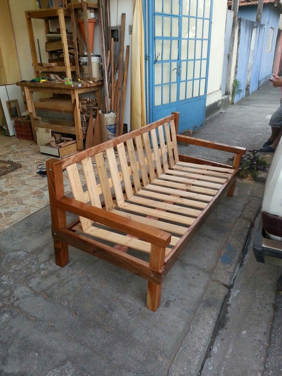 Sofá rústico, madeira de demolição. | Mobiliário de ...