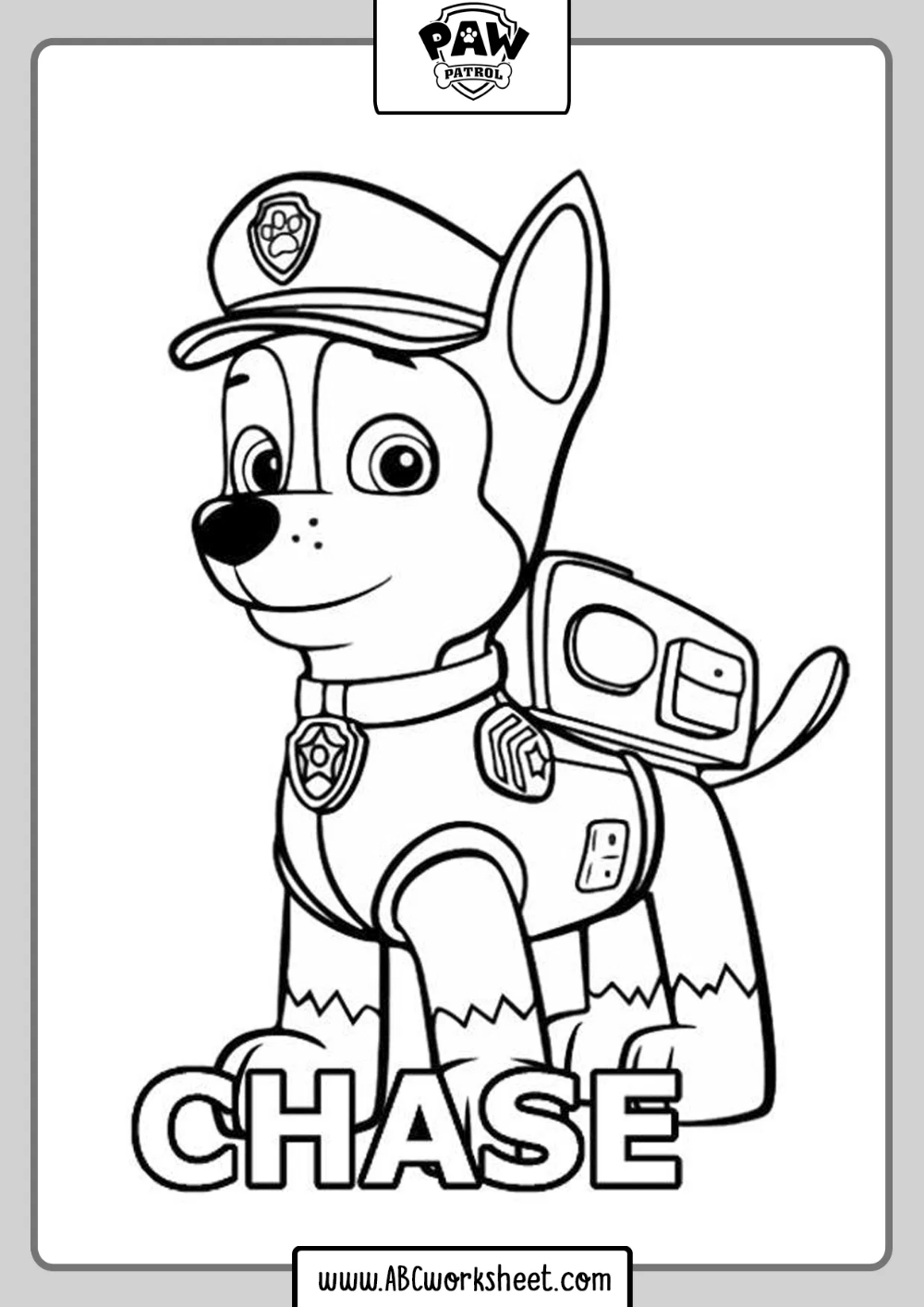 Chase Paw Patrol Drawing For Coloring In 2020 Paw Patrol Coloring Pages Paw Patrol Coloring Mermaid Coloring Pages