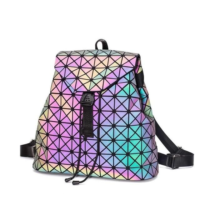 5bee92502 Fashion Female Geometric Laser Lattice Plaid Squin Mini Backpack ...