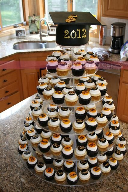 Cupcake Decorating Ideas For Guys : Cupcake tower for graduation party Senior Year ...