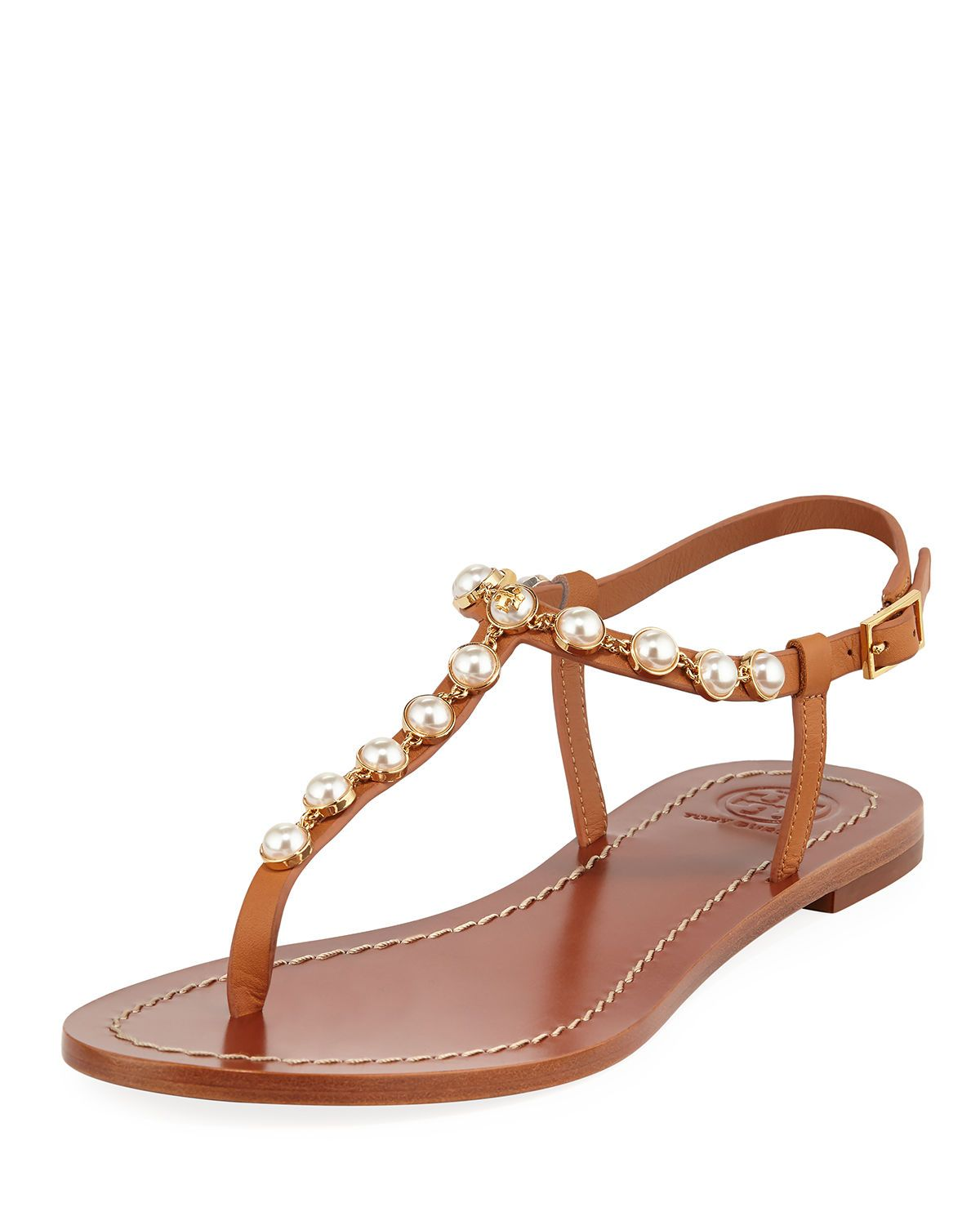 fca021e95a68 Tory Burch Emmy Pearly Beaded Flat Sandals in 2019