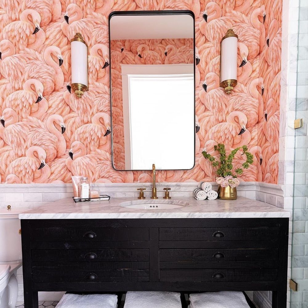Flamingo Flamingo Natty Polly Wallpaper Australia You Are In The Right Place About Textured Wallpap Pink Bathroom Tiles Flamingo Bathroom Bathroom Trends