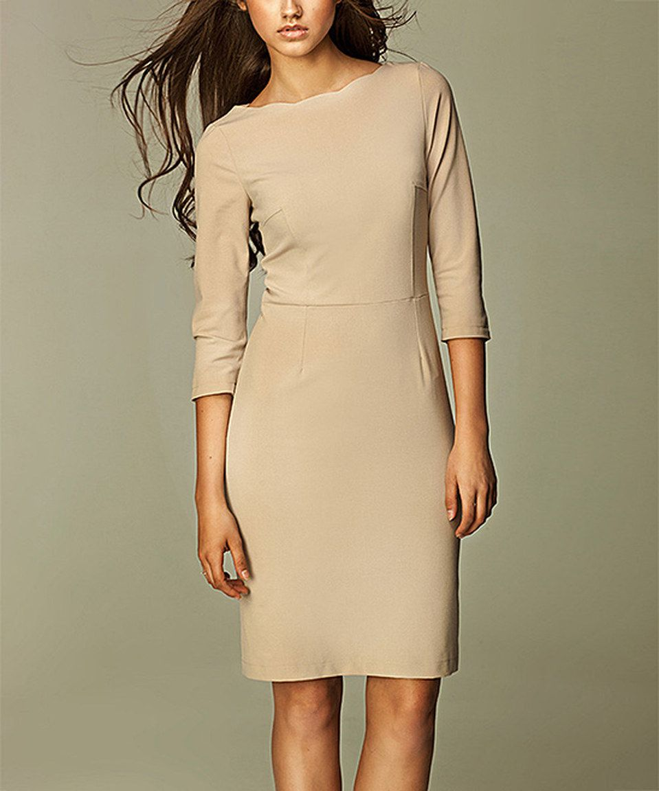 d7e15b513d0f Another great find on  zulily! NIFE Beige Boatneck Dress by NIFE   zulilyfinds