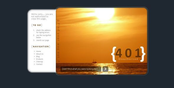 $5 SunSet Error Pages (401, 403, 404, 500, 503) | What's the