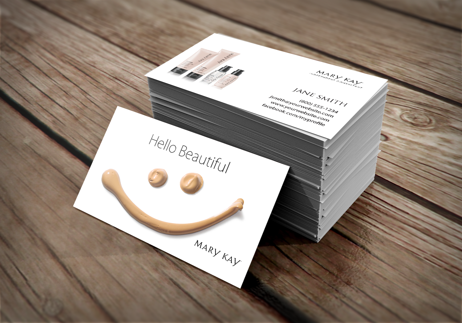 16 pt cardstock Mary Kay Consultant business card featuring ...