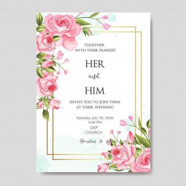 Beautiful Wedding Invitation Card Template With Floral Leaves In 2020 Wedding Invitation Card Template Beautiful Wedding Invitations Wedding Invitation Cards
