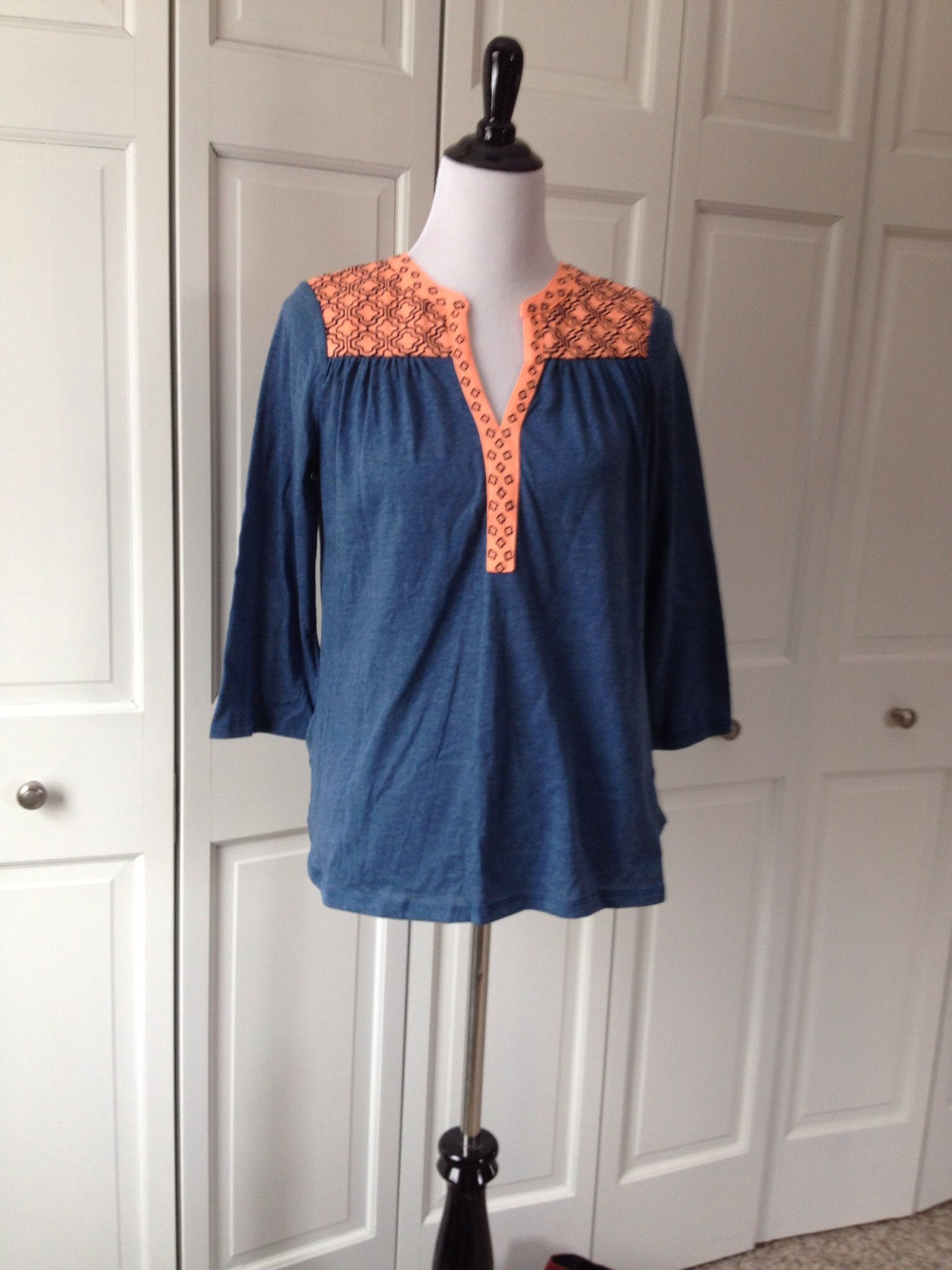 4102e83fe20 I don't usually like orange for me but these are my college colors. Pixley  Lucia Embroidered V-Neck Jersey Top $44