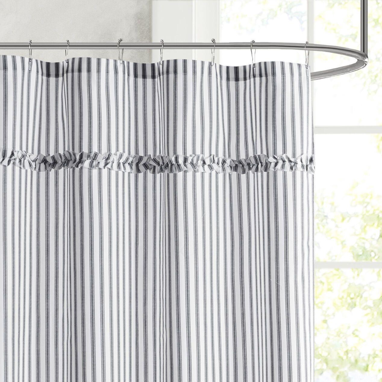 Ticking Stripe Shower Curtain In 2020