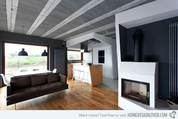 Scandinavian Style of Interior in the Beam and Block House in Poland
